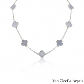Van Cleef & Arpels White Gold Chalcedony Vintage Alhambra Necklace VCARD34800